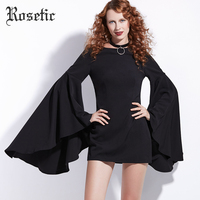 Rosetic Gothic Bodycon Dresses Black Flare Sleeve Women Autumn Straight O Neck Vintage Goth Retro