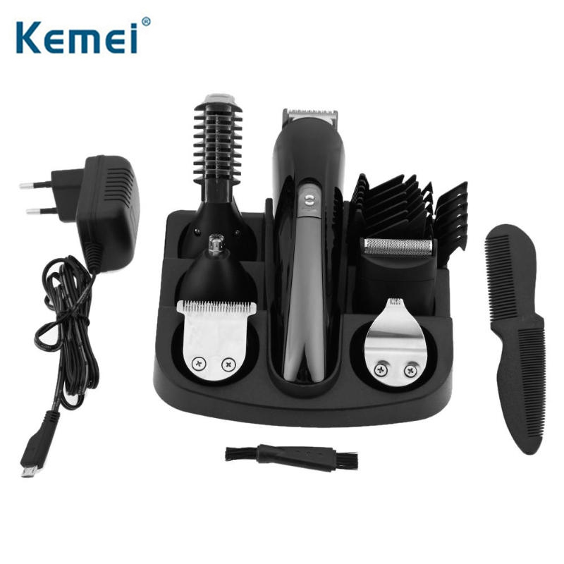 Kemei KM-600 Professional Hair Trimmer 6 in 1 Hair Clipper Nose Beard Trimmer Electric Shaver Men Shaving Hair Cutting Machine kemei 7 in 1 multifuntion hair trimmer clipper set electric shaver nose ear eyebrow beard trimmer hair removal shaving machine