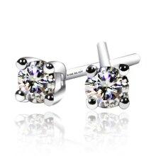 Reine Éclat Solide 18 K 750 Blanc/Jaune Or 0.2ct Lab Grown Moissanite Diamant Boucles D'oreilles, anniversaire Valentine Cadeau Pour Les Femmes
