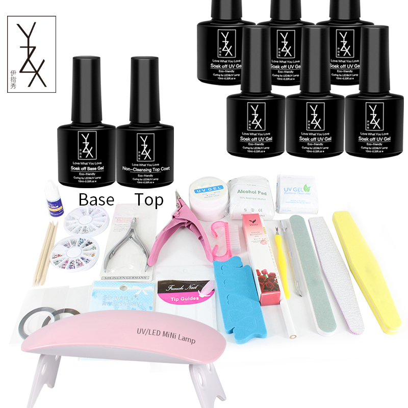 YiZhiXiu 1 x UV Gel Nail Polish Set 6W Lamp Soak off Varnish Lak Gelpolish Enamel Lacquer Professional Nails Manicure Kit Tools 12pcs lot green series uv gel nail polish led lamp gel lacquer gel polish vernis semi permanent gel varnish nail primer base top