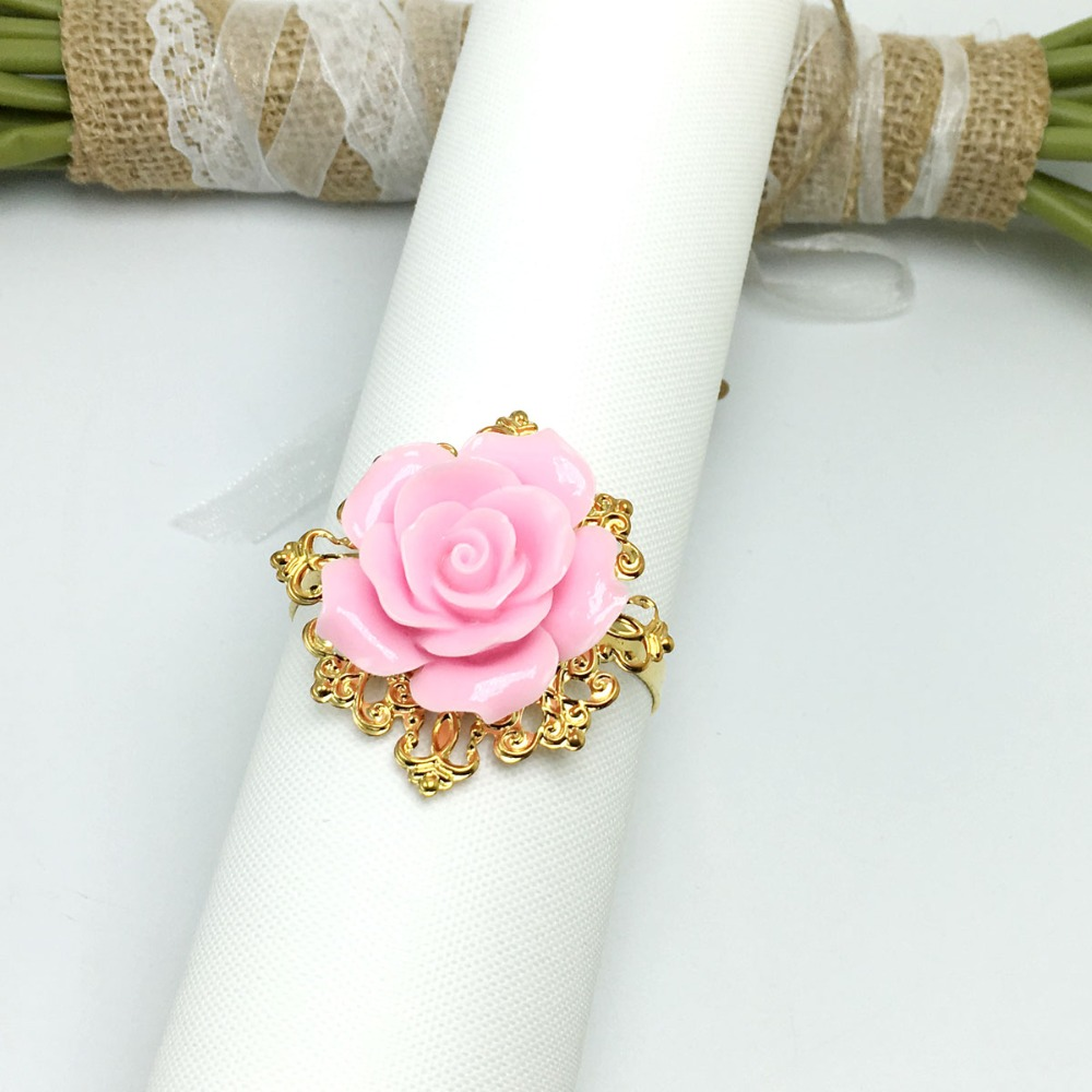 100 Pieces Pink Rose Flower Decor Gold Napkin Ring Holder Hoops Romantic Nice Looking Weeding Party Table Decoration