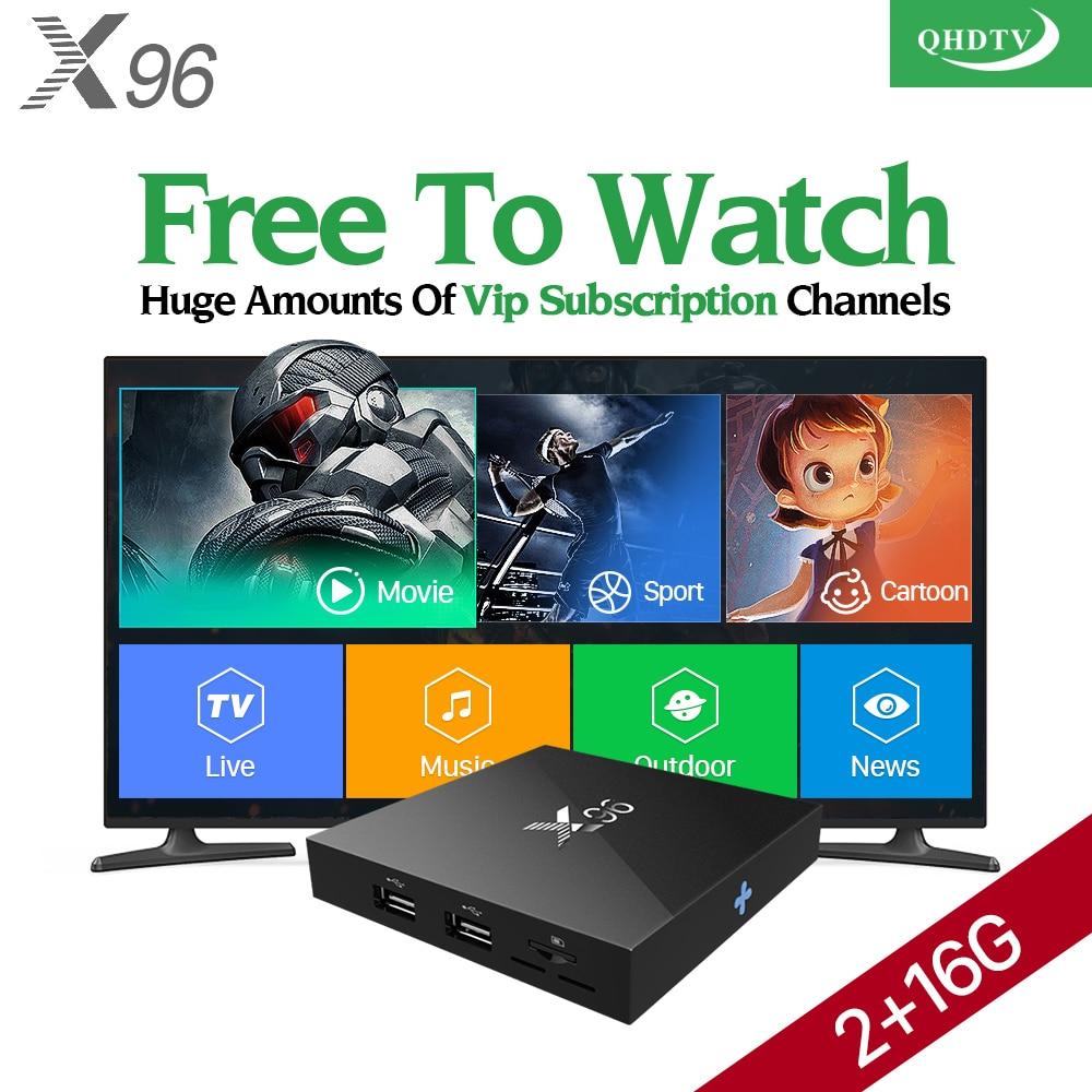 Popular X96 Android 6.0 TV Box QHDTV Code VOD Movie Abonnement IPTV Arabic Spain Channels Europe French Turkish Italia IPTV Box movie iptv