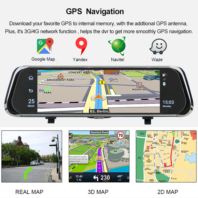 "ANSTAR 4G Android Rearview Mirror Car DVR 10"" HD 1080P GPS WIFI ADAS Dash Cam Dual Lens Recorder Auto Camera Registrar DVRs 2"