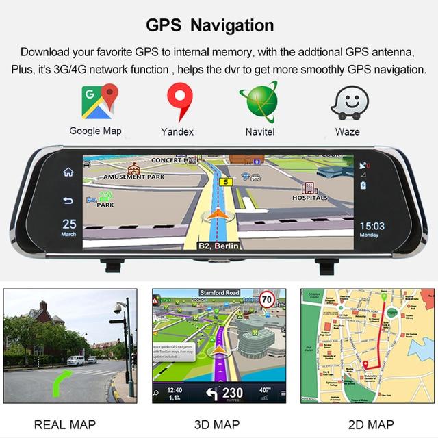 "ANSTAR 4G Android Rearview Mirror Car DVR 10"" HD 1080P GPS WIFI ADAS Dash Cam Dual Lens Recorder Auto Camera Registrar DVRs 2"