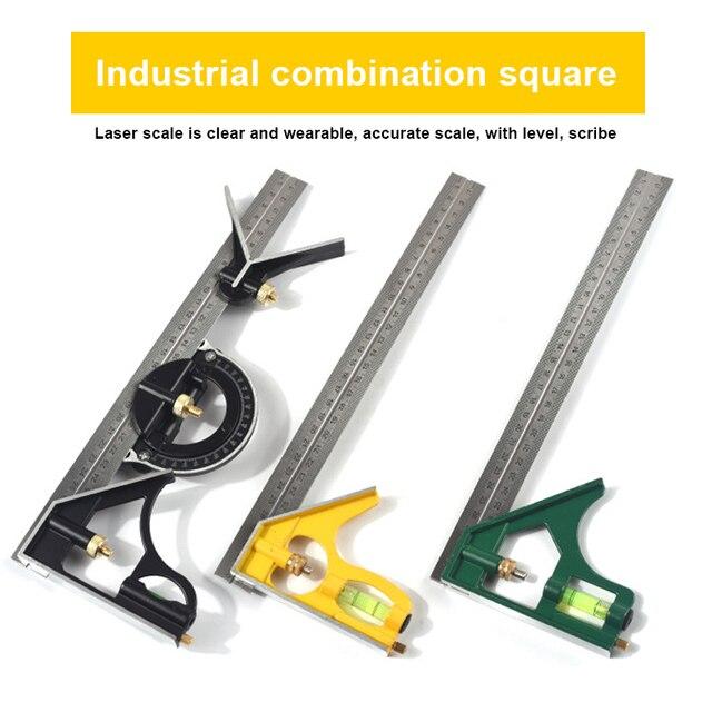 Neueste 300MM Professionelle Carpenter Werkzeuge Kombination Platz Winkel Lineal Edelstahl Winkelmesser Lineal