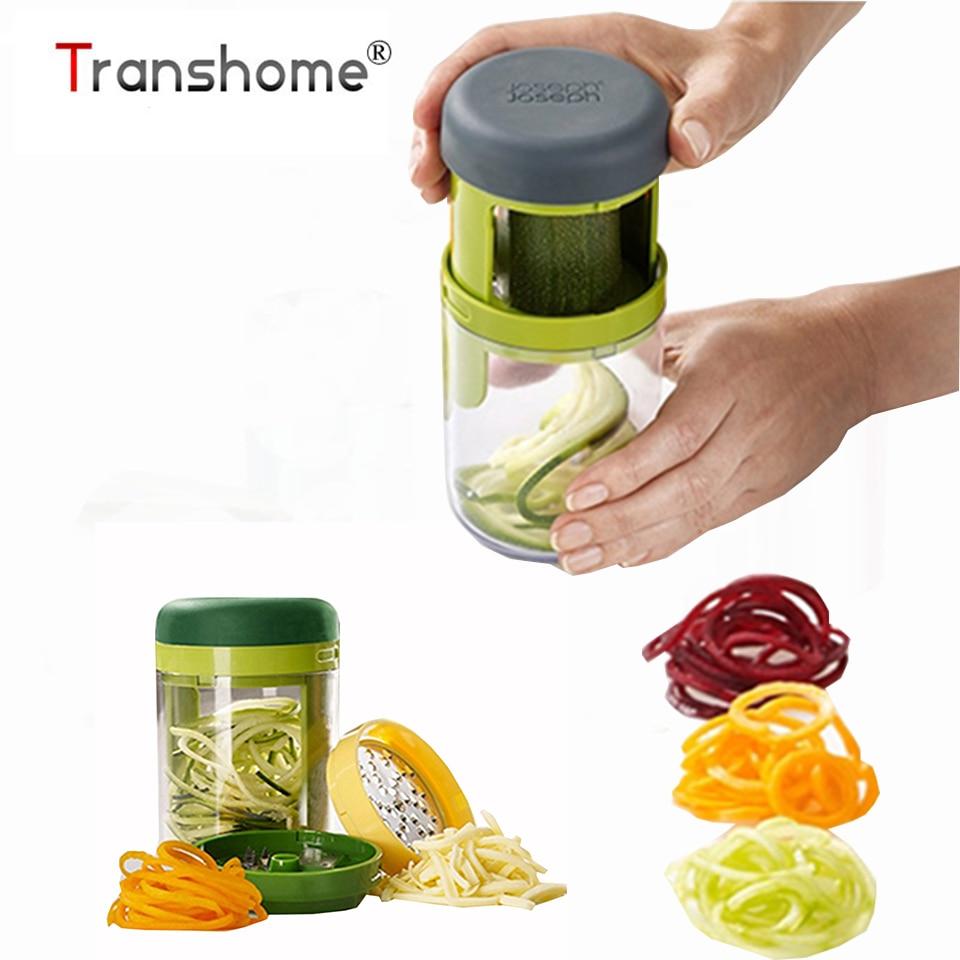 Transhome 1 Pcs 3 En 1 Main-tenue Spiralizer Spirale Trancheuse Râpe Spirelli Julienne de Carottes Cutter Légumes Fruits Cuisine outils