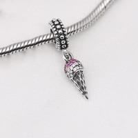 925 Sterling Silver Beads Charms Sveglio Ice Cream Cone Pendente di Cristallo Donne in Forma Originale Pandora Charms Bracelet & Bangle XCY191
