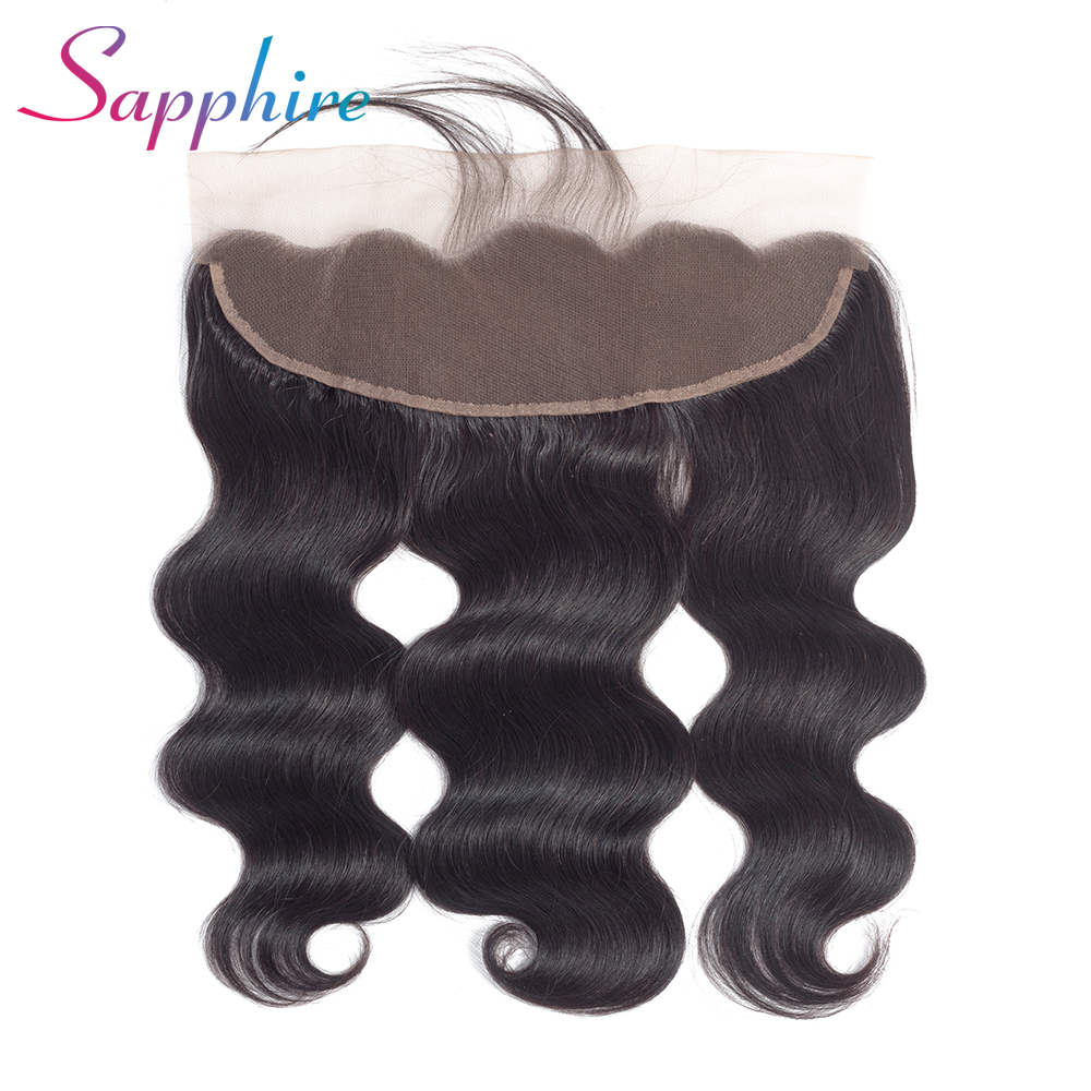 Sapphire Hair Peruvian Body Wave 13x4 Lace Frontal Free Part Ear to Ear Human Hair Lace Closure Natural Color With Baby Hair