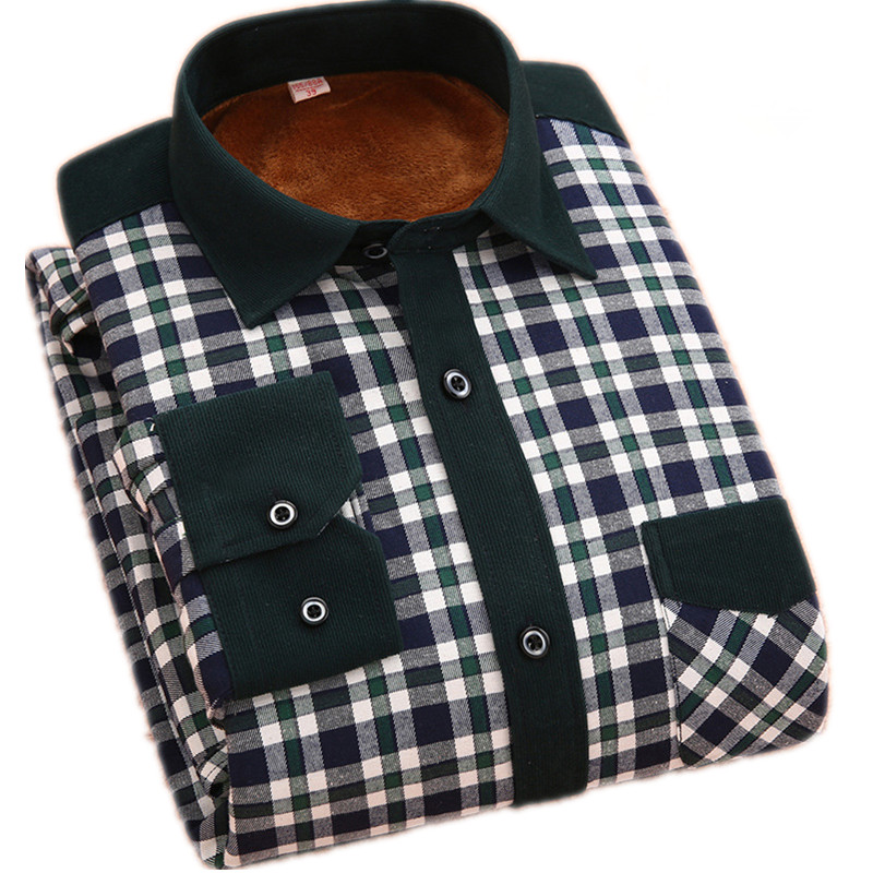 Hot Top Quality Plaid Shirts Men S Long Sleeve Slim Fit Shirt Thick Warm Winter Mens