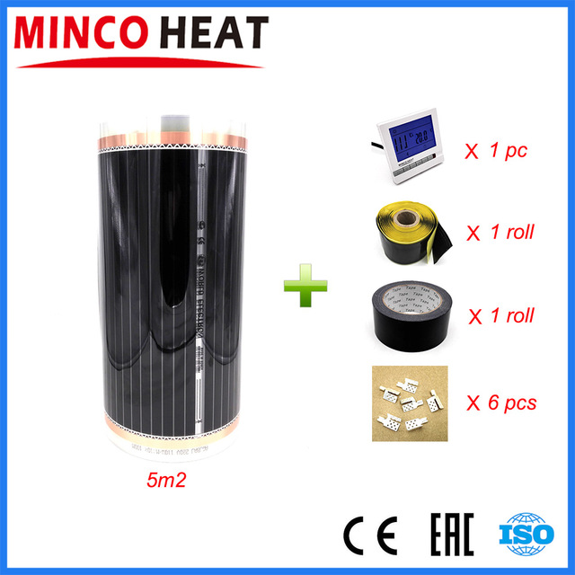MINCO HEAT 5 Square Meters 220V Room Thermostat and Carbon Infrared floor Heating Film Warm Heating
