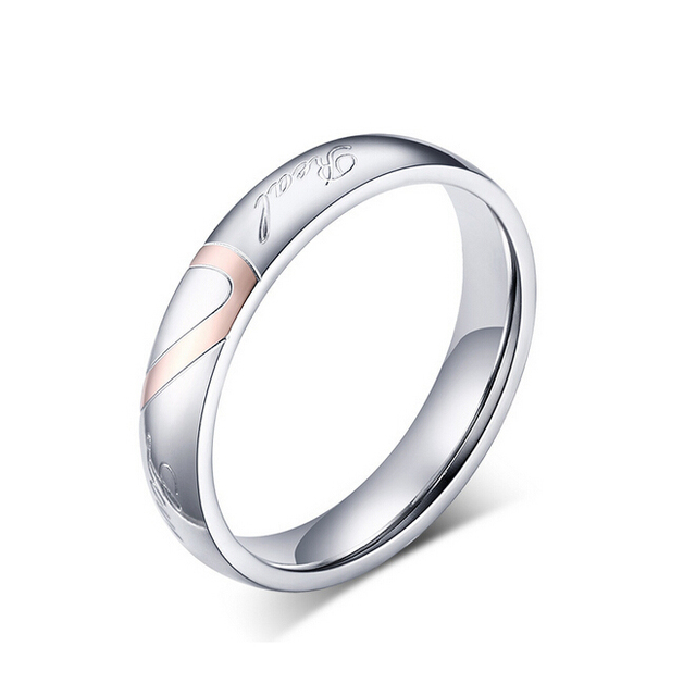 Fashion love heart couple ring