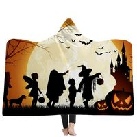 Halloween Hooded Blanket Soft Plush Fashion Cloak With Cap Tv Watching Robe Blanket Throw Blankets Bedding Home Decoration Gifts