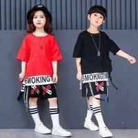 Children Girl Boy Hip Hop Dance Costume Jazz Dance Uniform Kids Modern Ballroom Dance Wear Street Stage Wear Performance 90