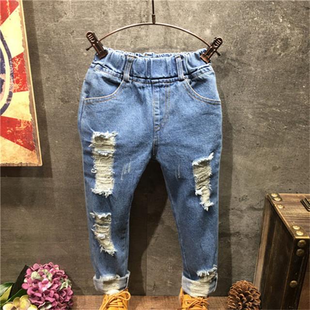 Jeans crianças meninas primavera verão 2016 nova crianças Ripped Jeans moda coreano crianças meninas roupas de Jeans calças Jeans calças 2 - 8 T