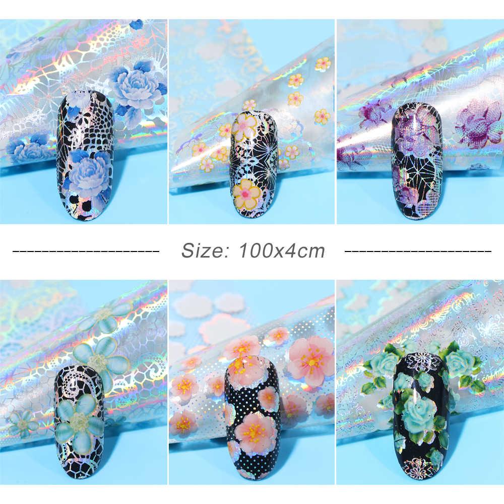 16 pièces autocollants en dentelle pour ongles feuille holographique paon vernis enveloppes curseur fleur vigne plume décalcomanies Nail Art décorations BE931