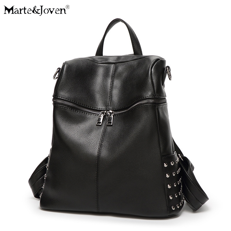 [marte&joven] Fashion Women Rivet Black Pu Leather Shoulder Bags Hot Sale Best Small Travel Rucksack Backpack For Teenage Girls