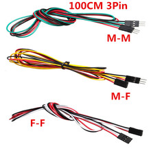 10pcs/lot 3pin 100cm M-M Male-Female F-F Jumper Wires 2.54mm AWG26 DuPont Cable for DIY Electronic