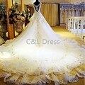 Gorgeous 2016 New Backless Crystal A-Line Wedding Dresses V-Neck Beading Luxury Wedding Bridal Dress Gown vestidos de novia
