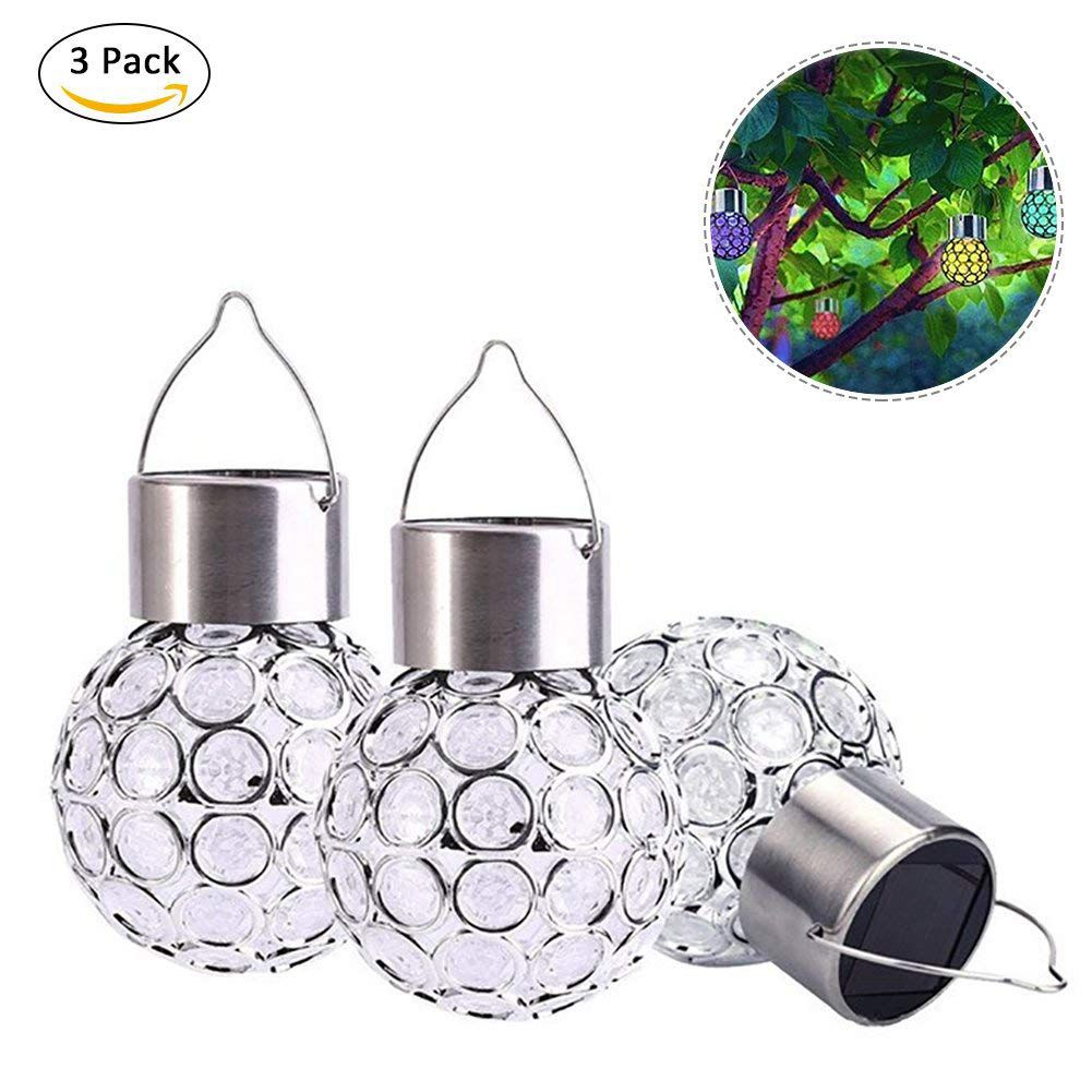 3 Pcs Led Solar Power Glass Ball Crystal Hanging Color Changing Light Decoration Light For Outdoor Garden Courtyard Waterproof