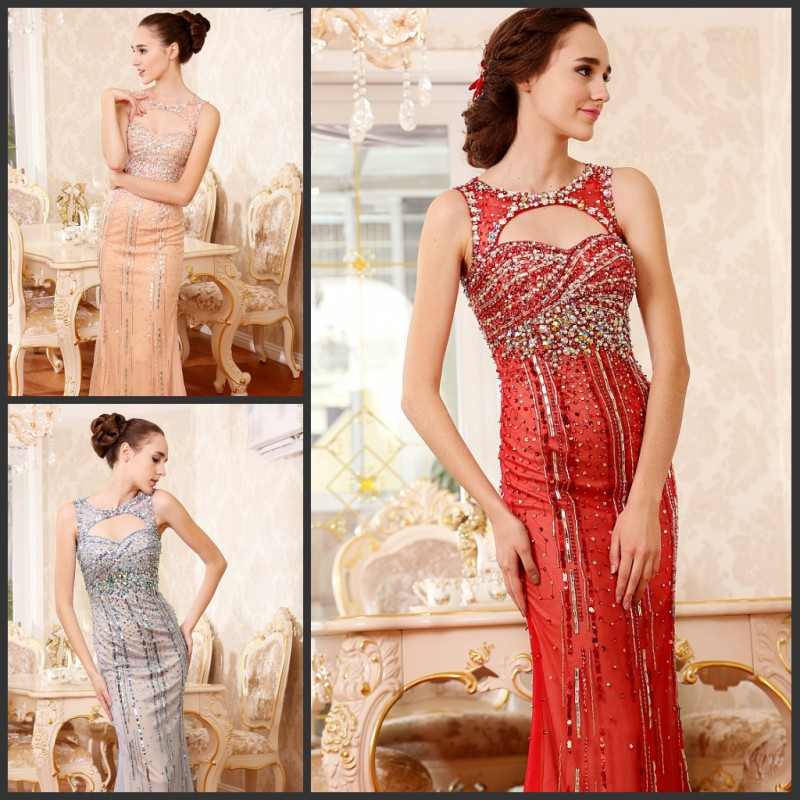 free shipping maxi 2016 luxury crystal vestidos formal brides evening gowns sexy backless red long beaded party   prom     dresses