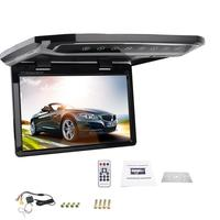 12.1 Inch TFT LCD Monitor Flip Down Roof Mount Display Overhead Player Widescreen with AV input SD Slot (Black Color)