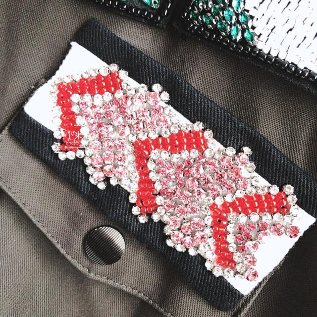 Manteau vent Tranchée Piste Manches De Armée Mode Perlée Designer Perle Manteaux Fleur À Vert Longues Coupe qwnO6Ut