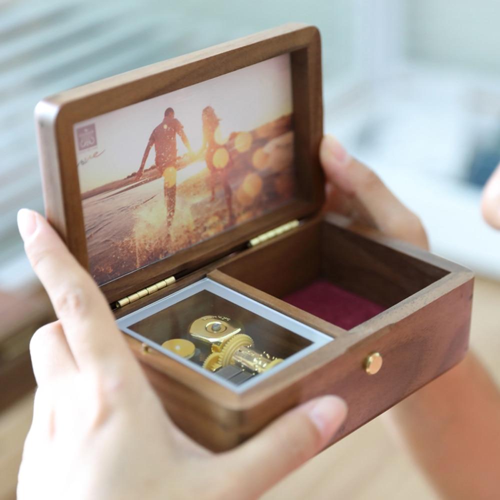 Sinzyo Handmade Wooden Photo frame My heart will go on Walnut Music box birthday Gift For