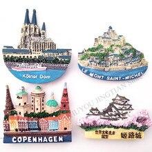 Countries Souvenirs France Copenhagen Japan Fridge Magnet Sticker Refrigerat Magnets 3D Anime Resin Tourism Home Decor CfaftsB20