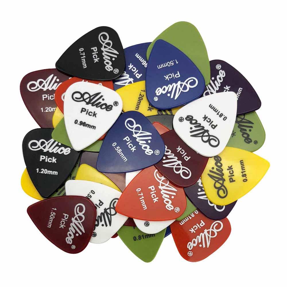 Акустическая электрическая гитара Alice Picks, 50 шт., медиатор, аксессуары для гитары Violao, толщина 0,58, 0,71, 0,81, 0,96, 1,20, 1,50 (мм)