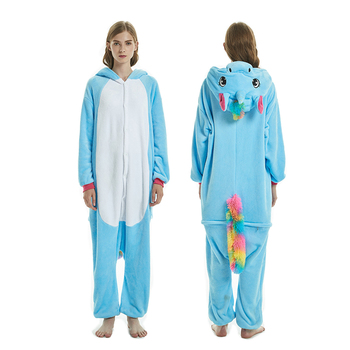 Adults Animal Set Cartoon Kigurumi Pajamas unicorn Pijama Unicornio Sleepwear kugurumiWomen Men Winter Unisex Flannel Stitch pajamas