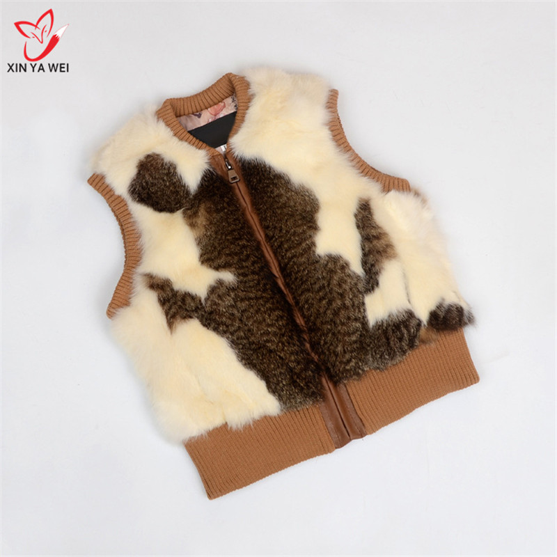 Vest Jackets Coats Real-Rabbit-Fur Women Children Outerwear Cat-Skin-Vest Thicken Winter