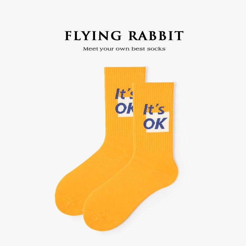 Cool Mens Socks Harajuku Hip Hop Socks Lovers Cotton Cartoon Letter Socks Yellow It's OK Skateboard Socks Fashion Novelty Crew