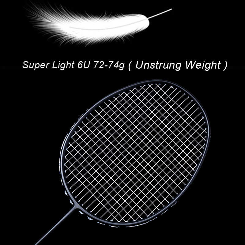 Professional Badminton Racquet LOKI Carbon Fiber Super Light Badminton Racket 4U 6U 72g With String 25-27 LBS For Adult Kid