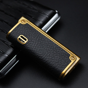 Image 2 - 2018 New Leather Jet Lighter Gas Torch Turbo Lighter Gun Eagle Emboss Windproof Cigar Pipe Lighter 1300 C Butane No Gas