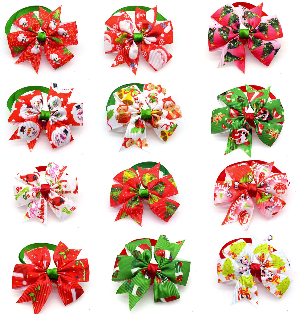 wholesale 500pcs Dog Bowtie Handmade Christmas Dogs Festival Bow Ties Dog Tie Pet Jewelry Accessories Supply