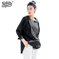 Double Puppet Fashion Loose Irregular Design Blouses Women Long Sleeve Patchwork Casual Black Tops Shirts 2017