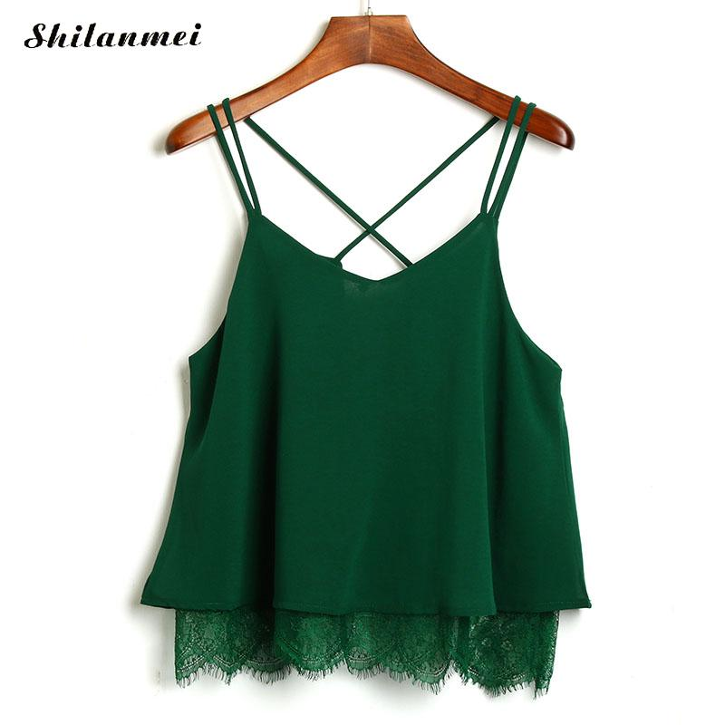 sexy sleeveless   top   women 2017 summer Green chiffon Camisole backless camis spaghetti strap lace   tank     tops   dentelle haut femme