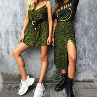 2 Style Summer Women Sleeveless Leopard Mini Dress