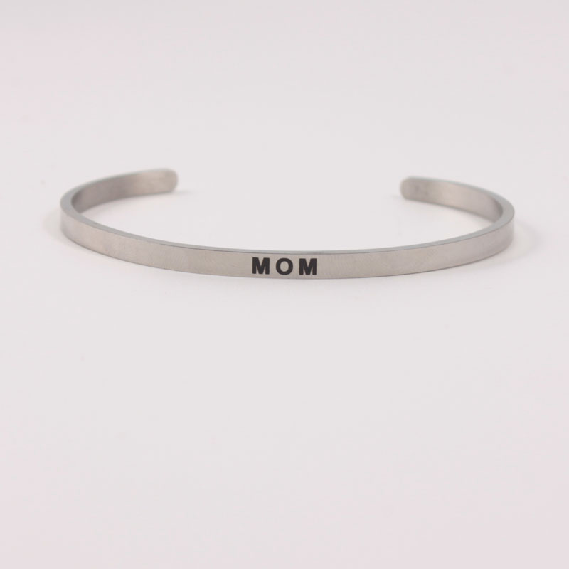 MOM 4mm Quotes Mantra Bracelets 316L Stainless Steel Open Cuff Bangle Women Female Inspirational Jewelry Bracelet