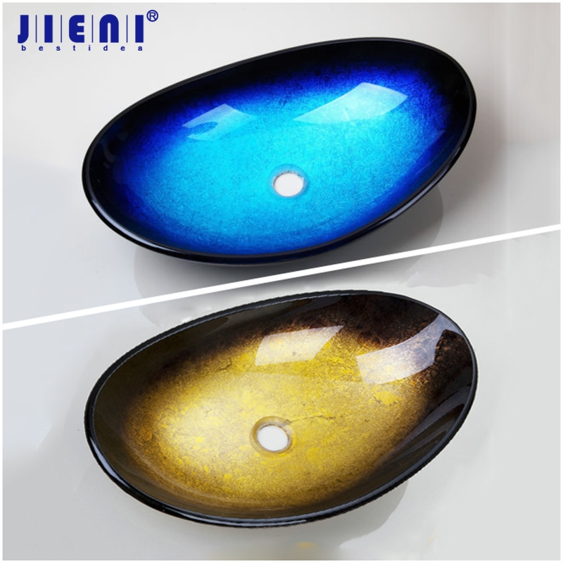 JIENI Blue Black Yellow Single Tempered Glass Bathroom Oval Wash Basin Bowl Vessel Sink without Overflew