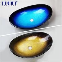 JIENI Blue & Black Yellow Single Tempered Glass Bathroom Oval Wash Basin Bowl Vessel Sink without Overflew Pop Drain