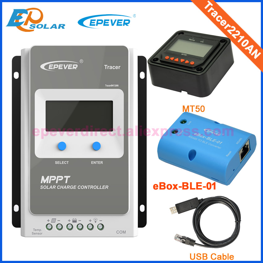 20A Solar Battery Controller Tracer2210AN mppt EPEVER EP series MT50 Meter eBOX-BLE-01 adapter and USB cable 20a mppt solar battery controller epsolar epever tracer2210an 20amps usb cable and mt50 remote meter temp sensor