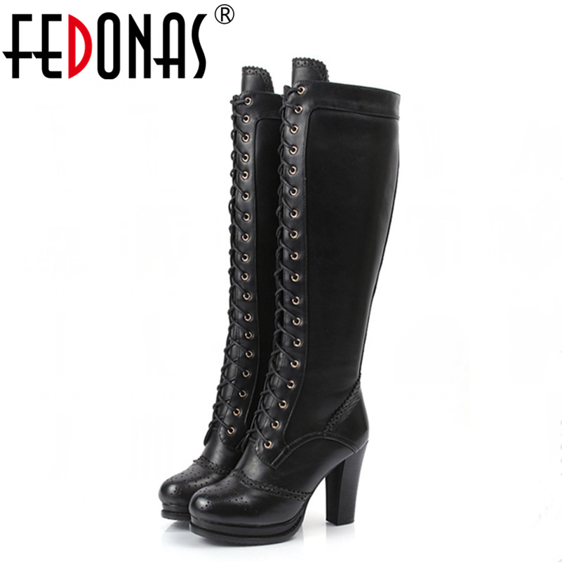 FEDONAS Fashion Women Thick High Heeled Motorcycle Knee Boots Sexy Genuine Leather Autumn Winter Warm Snow Boots Shoes Woman цены онлайн