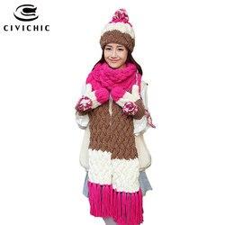 CIVICHIC Knit Hat Scarf Glove Warm Set Stripes Color Mix Lovely Pompon Beanies Velvet Headwear Thicken Mitten Tassel Shawl SH178