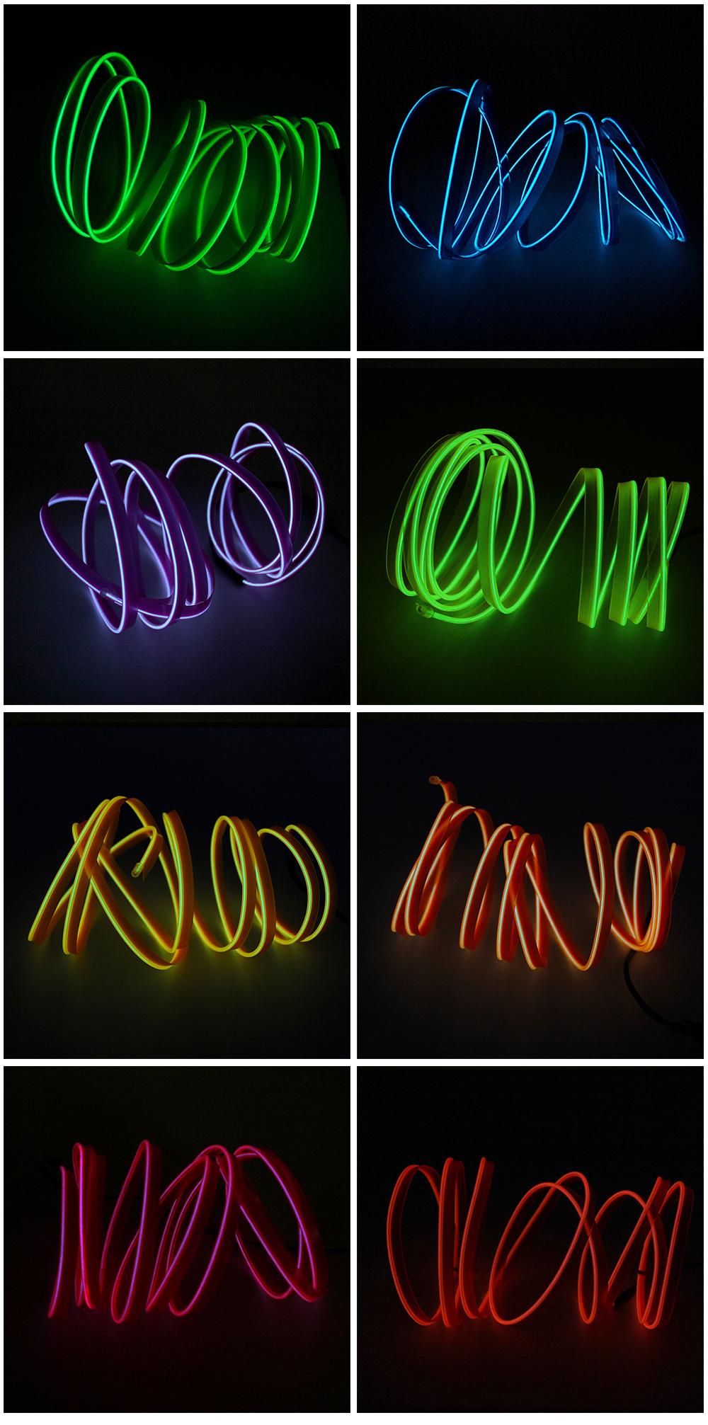 Neon De Decoration Interieur 1 m 12 v voiture atmosphère lampes auto intérieur lumières 10 couleurs  flexible néon el fil led bande lumière pour voiture bricolage  décoration(#blue)