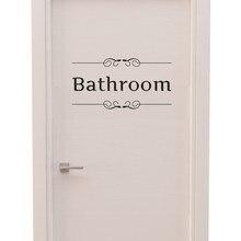 Etiqueta de pared para cuarto de baño letra extraíble arte vinilo mural para habitación de la casa Vintage Puerta de baño vinilo calcomanía de transferencia decoración cita arte