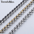 Trendsmax 5mm Byzantine Box Link Stainless Steel Necklace Mens Boys Chain KNM138