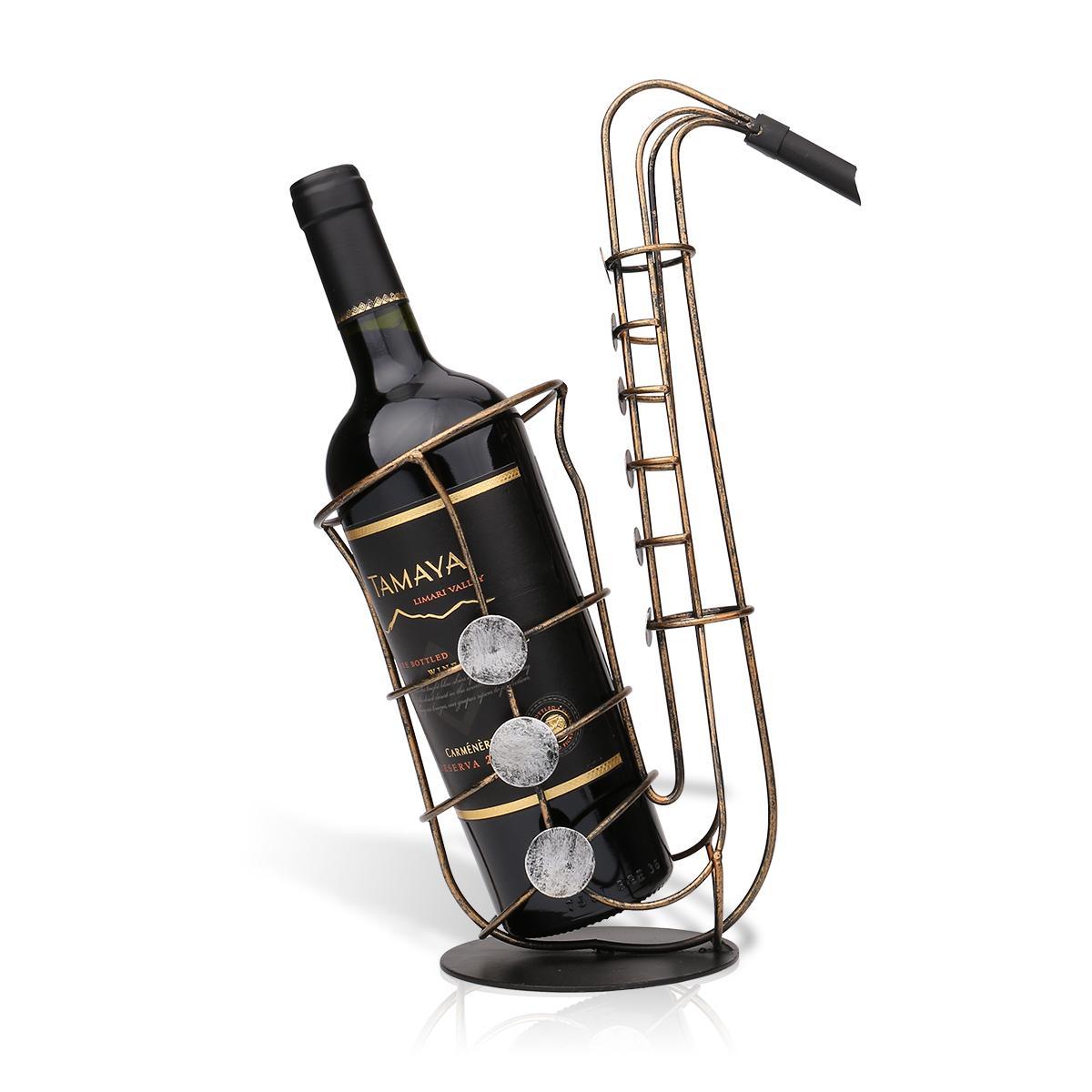 Wine bottle ornaments - Tooarts Metal Sax Wine Rack Beautiful And Practical Wine Rack Fantastic Wine Bottle Holder Practical Ornament Crafts