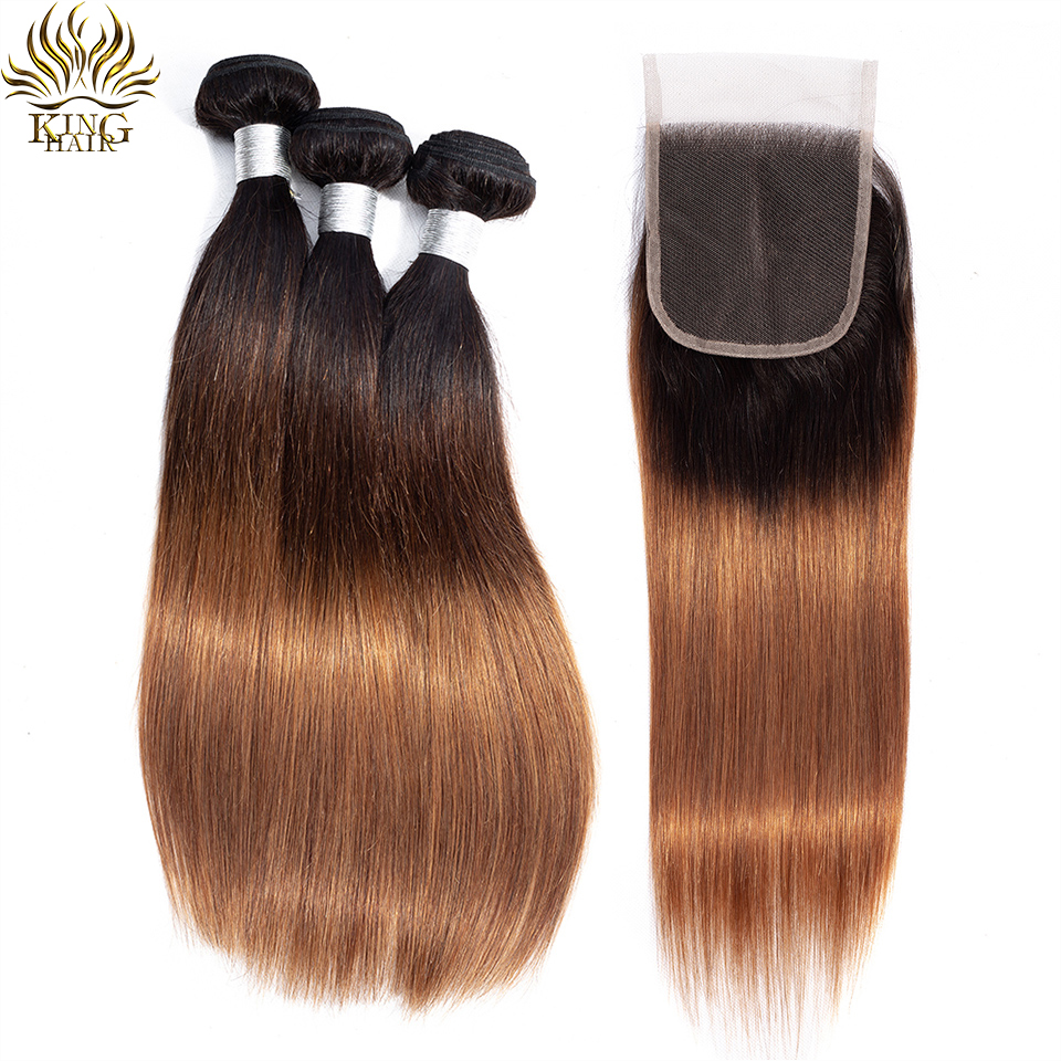 King Hair Peruvian Straight Hair Weave Ombre Bundles with Lace Closure 1B 4 30 Honey Brown