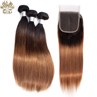King Hair Peruvian Straight Hair Weave Ombre Bundles with Lace Closure 1B/4/30 Honey Brown Human Hair 3 Bundles with Closure
